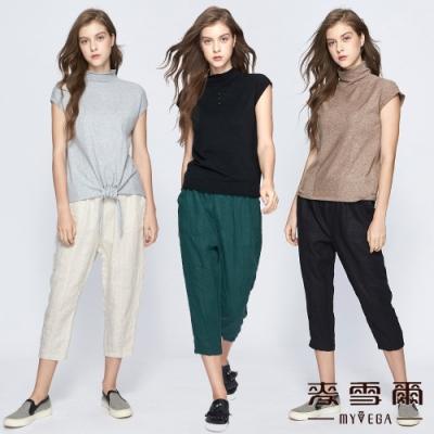 【麥雪爾】純麻鬆緊口袋八分褲-共六色