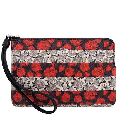 COACH 紅色玫瑰花圖樣PVC手拿包