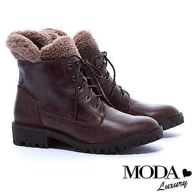 中筒靴 MODA Luxury 街頭率性毛毛拼接牛皮綁帶中筒軍靴-咖