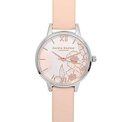 Olivia Burton 英倫復古手錶 抽象花卉浮雕 蜜桃粉色真皮錶帶銀框30mm