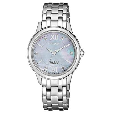 CITIZEN 晶彩綻放貝殼面女腕錶-粉藍(EM0720-85Y)/30mm