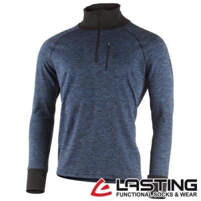 【LASTING捷克】男款羊毛抑菌除臭透氣立領拉鍊衫LT-WAZOL麻花藍