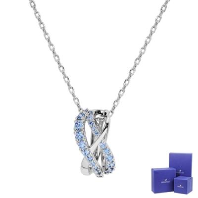 SWAROVSKI 施華洛世奇 Twist璀璨藍水晶流線造型銀色項鍊