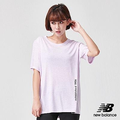 New Balance花紗長版運動短袖上衣AWT91135VTH_女淺紫
