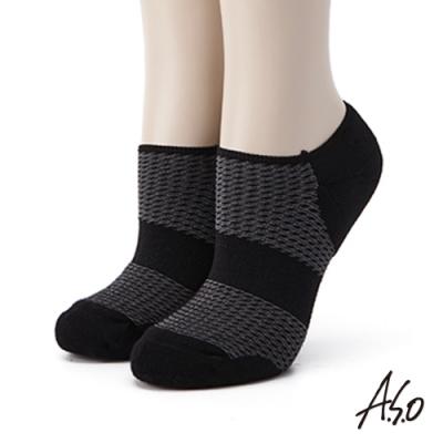 A.S.O環保抑菌系列-船型襪-黑色(2入裝)