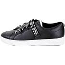 Michael Kors Casey 品牌字母織帶皮革休閒運動鞋(黑色)