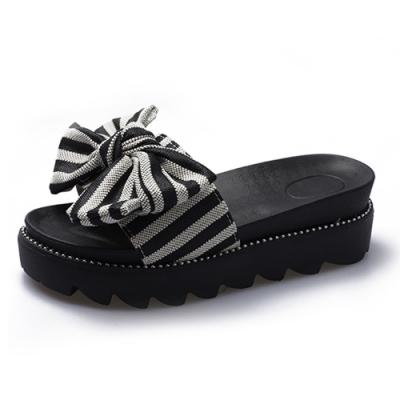 KEITH-WILL時尚鞋館 夏氛俏麗動人蝴蝶結條紋拖鞋-黑