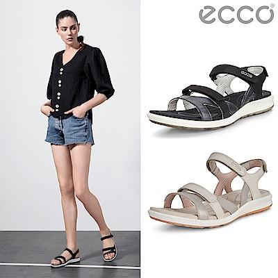 [母親節獨家價]ECCO CRUISE II 輕盈雙色交叉細帶休閒涼鞋 女-銀灰/黑