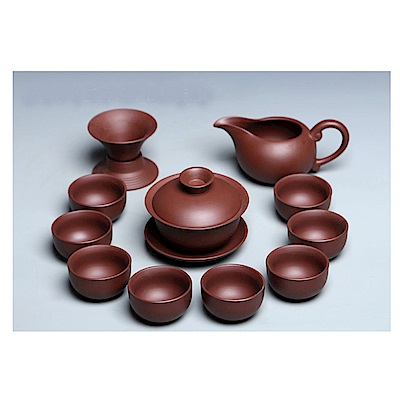 原藝坊  禪心紅紫砂三才蓋碗功夫茶具 套裝組