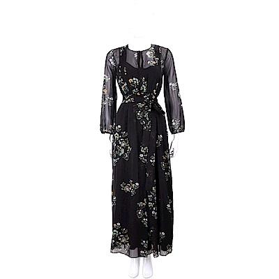 Max Mara 花朵印花附皮革腰帶黑色雪紡洋裝