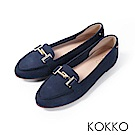 KOKKO - 簡約舒適真皮金屬釦莫卡辛休閒鞋-靜謐藍