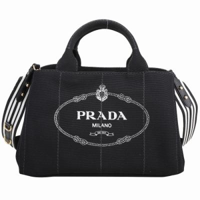 PRADA Canvas 大款 字母徽標帆布手提/斜背托特包(黑色)