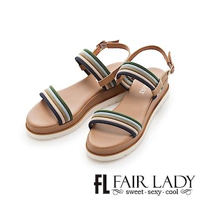 Fair Lady 跳色線條一字厚底休閒涼鞋 藍