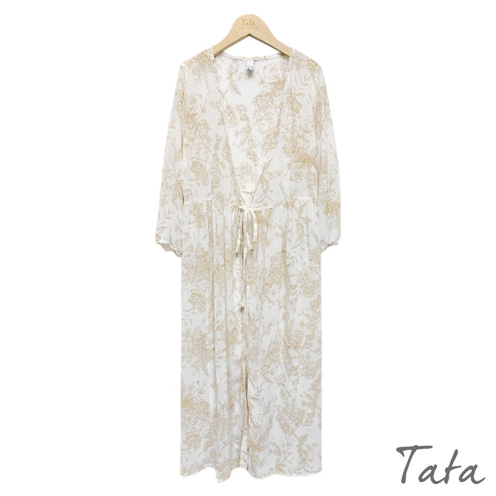 綁帶束口袖印花雪紡罩衫 共二色 TATA-F