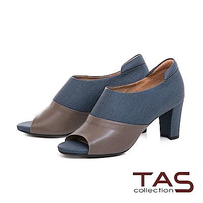 TAS 牛仔紋質感素面拼接魚口高跟踝靴-知性藍