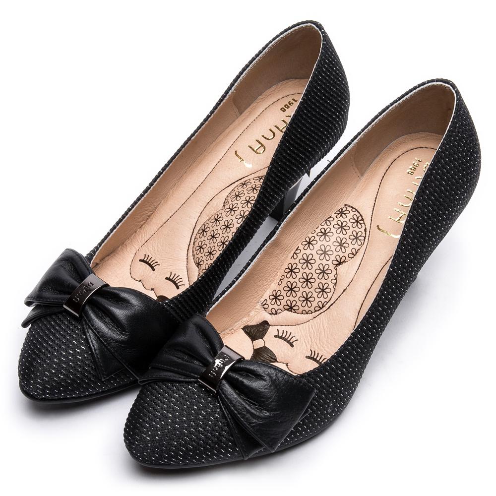 DIANA法蘭西布蝴蝶結真皮尖頭跟鞋-漫步雲端超厚切瞇眼美人-黑