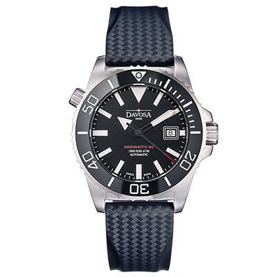 DAVOSA BG 300米排氦氣潛水專用錶-神秘黑x橡膠帶/42mm
