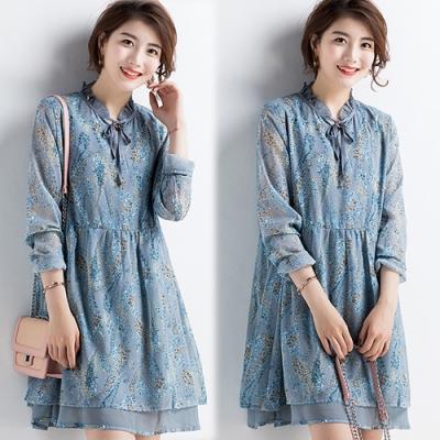 【韓國K.W.】好感印象印花雪紡氣質洋裝-1色