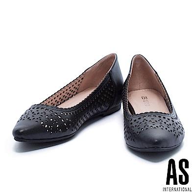 低跟鞋 AS 高雅細緻幾何冲孔羊皮低跟鞋-黑