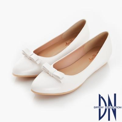 DN 夏日漫步 立體蝴蝶結內增高尖頭鞋-白