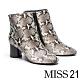 短靴 MISS 21 摩登時髦蛇紋微尖頭粗高跟短靴-蛇紋 product thumbnail 1