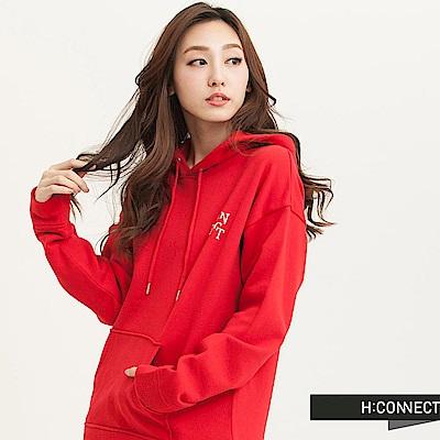 H:CONNECT 韓國品牌 女裝-不規則後背印字帽T-紅(快)