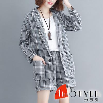 格紋西裝外套+格紋短褲兩件套 (灰色)-4inSTYLE形設計