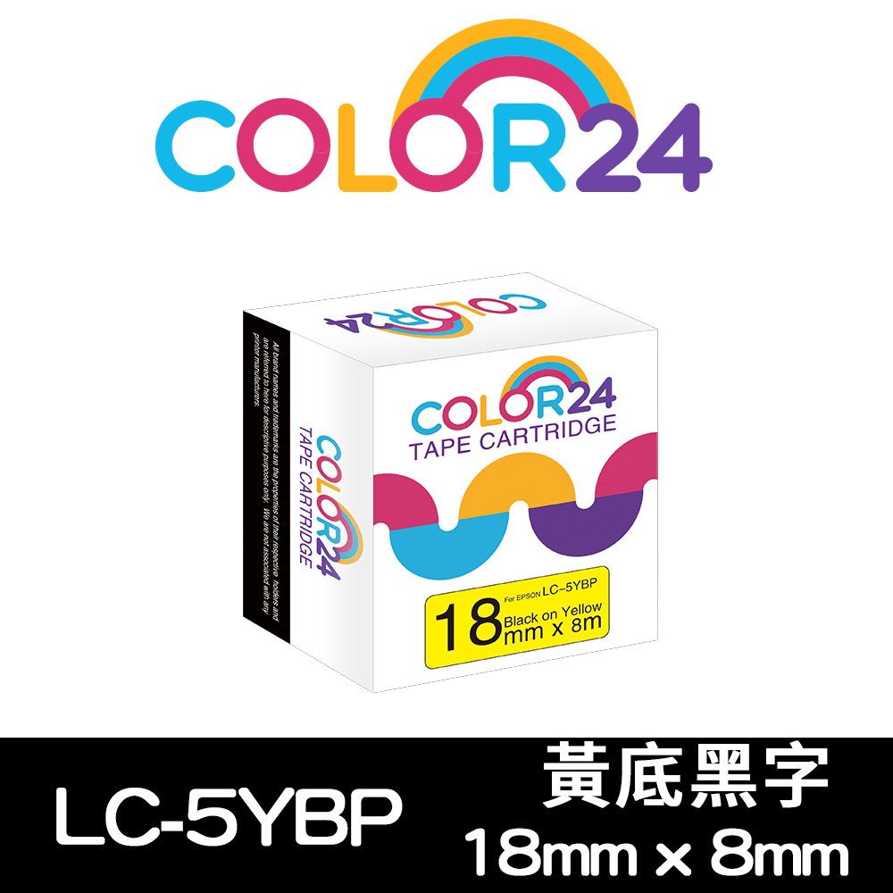 Color24 for Epson LC-5YBP 黃底黑字相容標籤帶(寬度18mm) product image 1