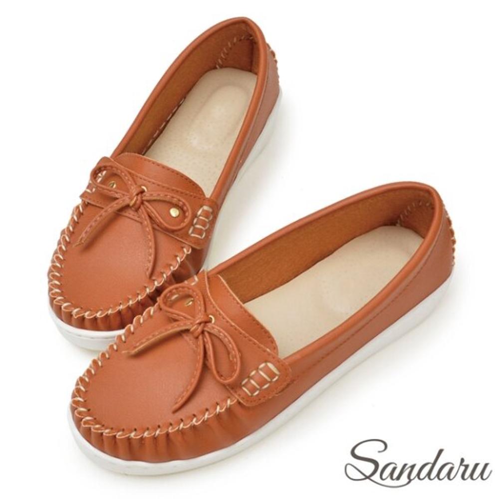 山打努SANDARU-MIT蝶結車縫白真皮底莫卡辛鞋-棕