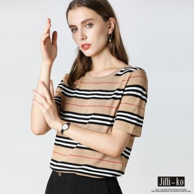 JILLI-KO 冰絲條紋針織上衣- 卡/黑/藍