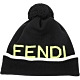 FENDI 螢光黃LOGO字樣毛球純羊毛針織毛帽(黑色) product thumbnail 1