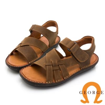 GEORGE 喬治皮鞋 舒適系列 真皮寬楦厚底氣墊涼鞋-咖