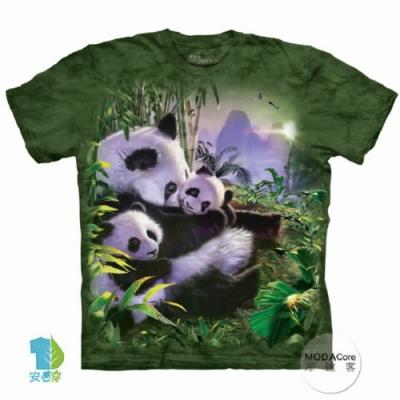摩達客-預購-美國進口The Mountain 貓熊抱抱 兒童版純棉環保藝術中性短袖T恤