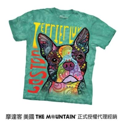 摩達客(預購)美國進口The Mountain 彩繪愛波士頓梗犬 純棉環保短袖T恤