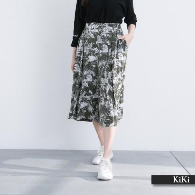 【KiKi】夏日彈性清爽-長褲(綠色/版型適中)