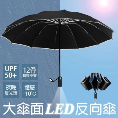 【KISSDIAMOND】12骨LED自動開收大傘面黑膠反向傘(自動折傘/安全照明/抗強風/防斷裂/抗UV/KD-025)