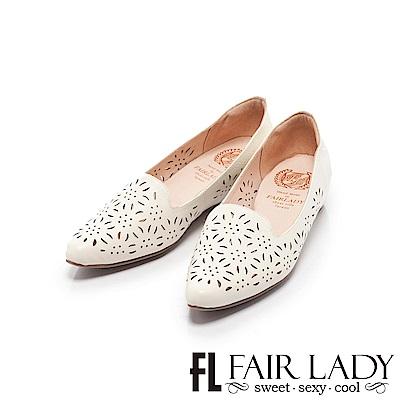 Fair Lady懶骨頭 花漾縷空內增高尖頭平底鞋 奶油
