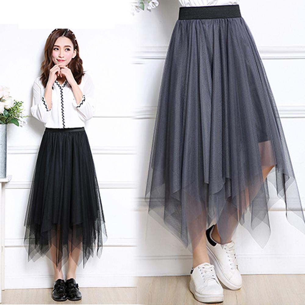 【韓國K.W.】唯美青春不規則下擺百褶紗裙-2色