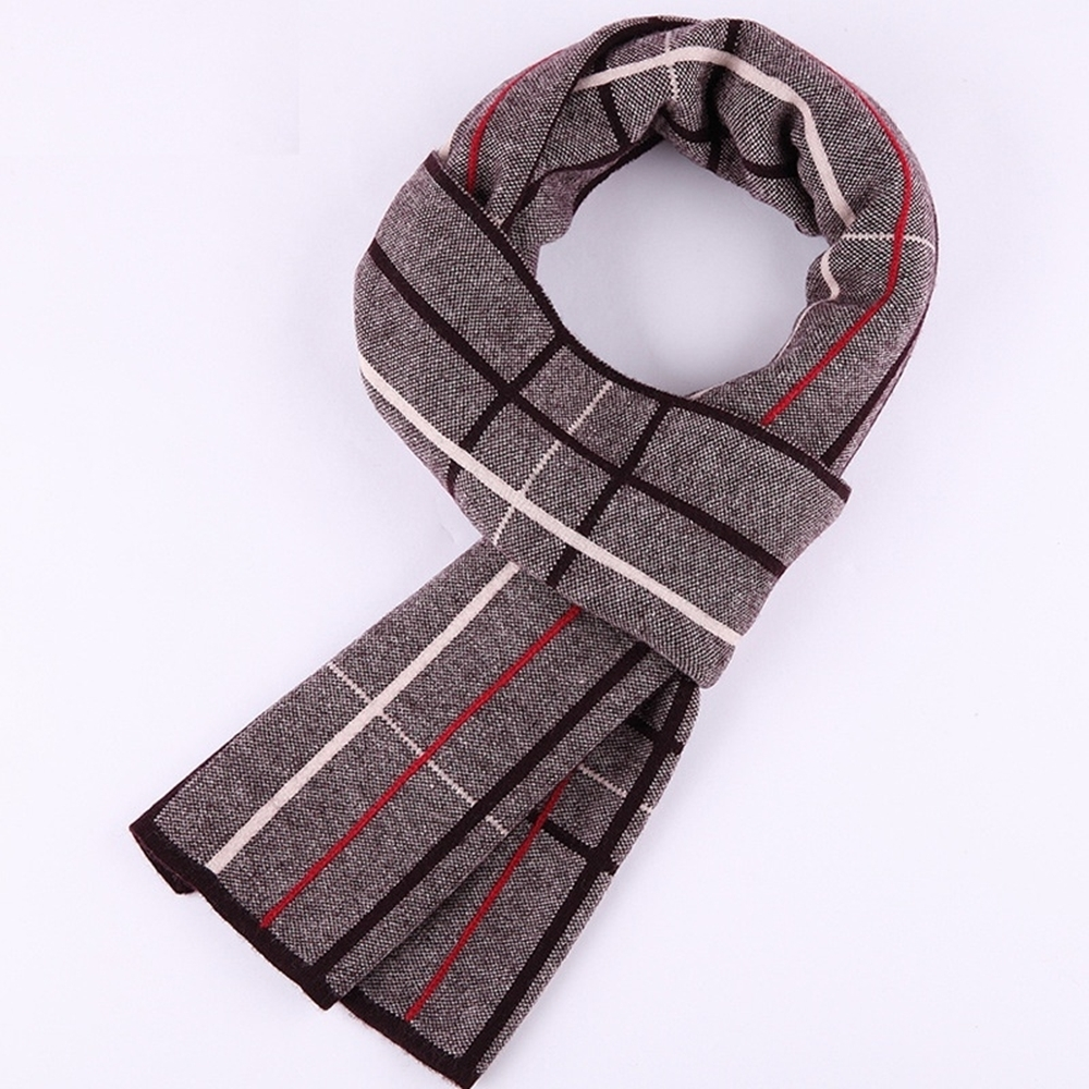 米蘭精品 羊毛圍巾-時尚英倫格紋針織男披肩情人節生日禮物3色73wh82