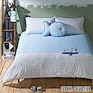 YVONNE COLLECTION 魚魚單人二件式被套+枕套組-淺藍/淺灰白