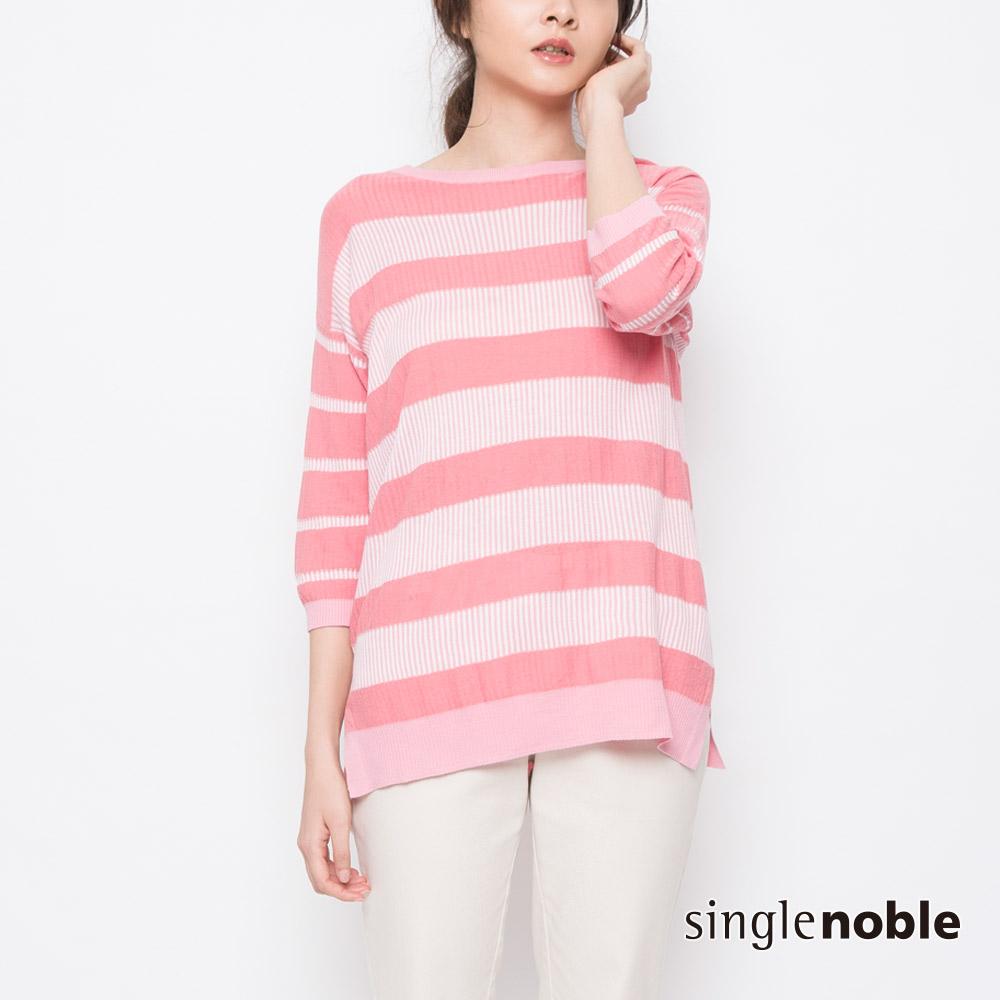 獨身貴族 玩味春色直條紋拼接針織衫(2色)