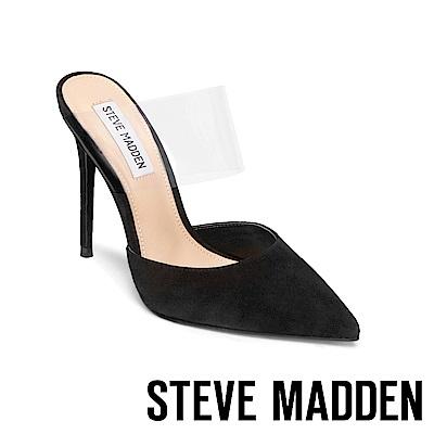 STEVE MADDEN-DAYDREAM尖頭透明鞋帶高跟拖鞋-絨黑