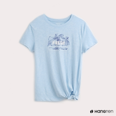 Hang Ten-女裝下擺綁結印花T恤-藍