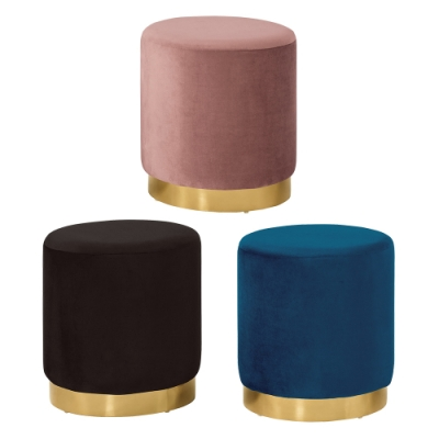 Boden-凱莉絨布小圓凳/圓型椅凳/矮凳/小椅子(三色可選)-40x40x44cm