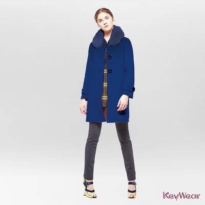 KeyWear奇威名品    經典狐狸毛領毛呢手工大衣-深藍色