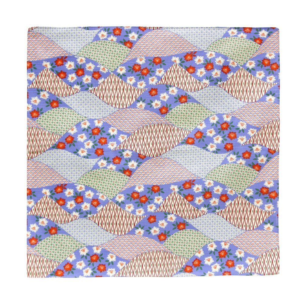 日本Prairiedog 伊勢形紙風呂敷/便當巾-藍色波紋