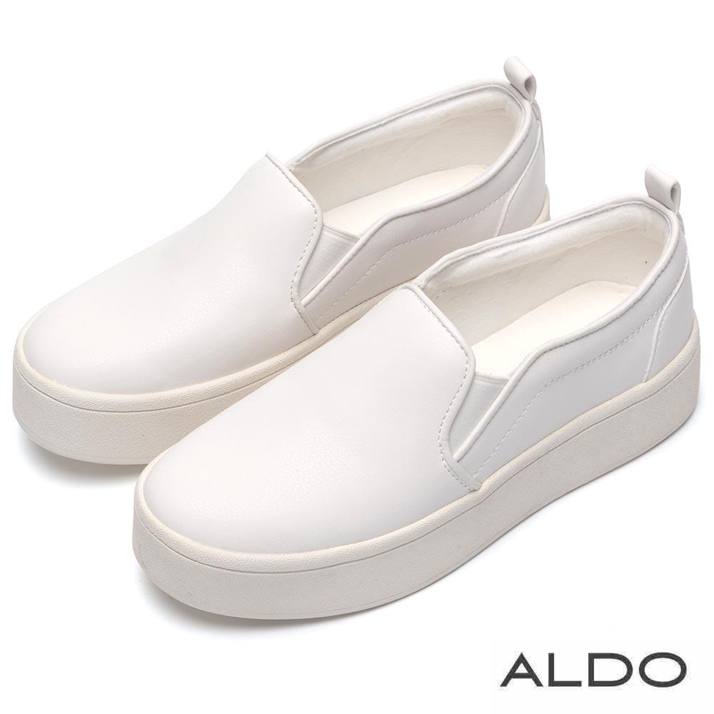 ALDO 原色彈性鬆緊帶式厚底休閒便鞋~清爽白色