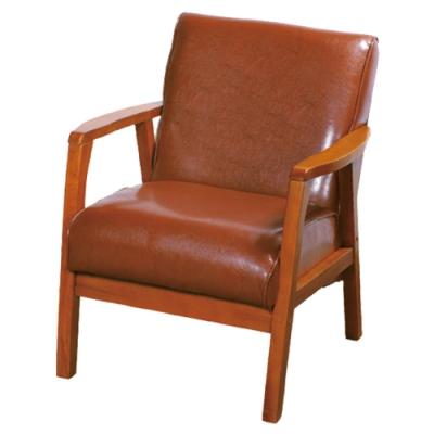 文創集 麥格西時尚皮革實木單人座沙發椅(二色可選)-65x80x80cm免組