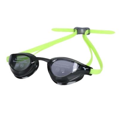 MIZUNO 泳鏡-台灣製 抗UV 防霧 蛙鏡 游泳 訓練 美津濃 N3TE951000-93 黑螢光綠