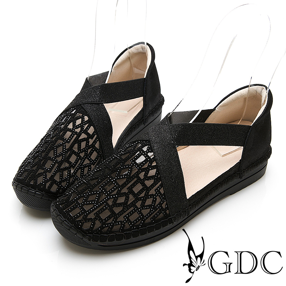 GDC-真皮拼接水鑽交叉舞鞋感簍空圓頭舒適休閒鞋-黑色